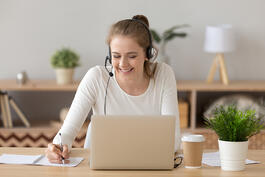 customer service work at home person